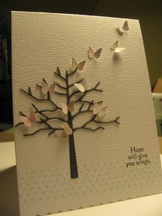 Memory Box Twiggy Tree die, Martha Stewart butterflies, Hope sentiment is from Catslife Press and the dotted border is a clear stamp is a mystery. This card is beautiful!