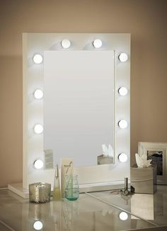 This eco-energy efficient illuminated white Hollywood mirror is a fabulous statement mirror. It comes with a dimmer switch on the right side of the frame and can be hung portrait or landscape www.hollywoodmirrors.co.uk Our Hollywood Mirrors are the perfect makeup and beauty mirror, vanity mirror or dressing table mirror! Our illuminated mirrors are stylish and brightly lit making the perfect home decor accessory to any of your interiors. #Interiors #InteriorDesign #Bedroom #Bathroom…