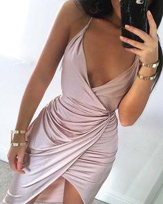 Silk spaghetti strap dress in soft pink curves