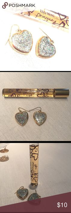 Valentine heart earrings Vera Wang princess night Valentine's Day bundle buy the earrings and receive a roller ball vera wang princess night perfume. The earrings are gold with paved sparkly look. Vera Wang Jewelry Earrings