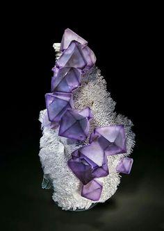 Fluorite on Quartz - China