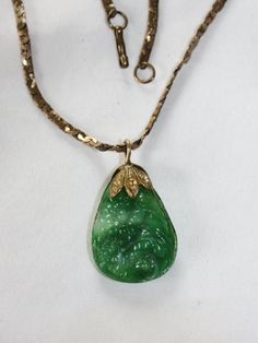 Vintage Green Necklace Molded Glass Pendant  Antique by patwatty, $35.00