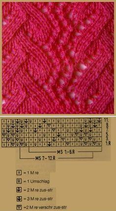 """Lochstrickmuster Beispiel 3, Musterbreite: 16 M + 6 M + 2 Rdm, Achtung! In der 7. R wechselnder Mustersatz ~ """"Coral"""" lace knitting pattern"""