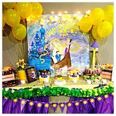 Alaina's 3rd Birthday.  Rapunzel/Tangled Party dessert table.