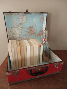 Vintage Suitcase with Map by reddoorfurnitureco on Etsy
