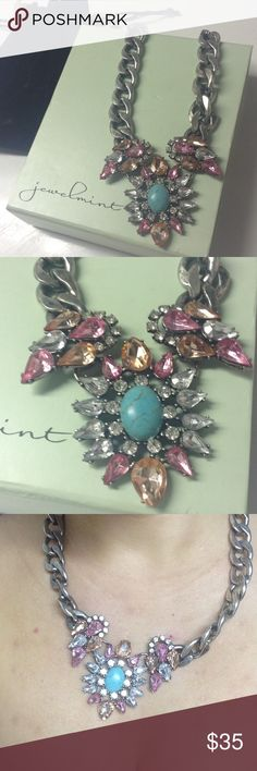 JewelMint Sunburst Jewel Necklace Gorgeous stztement Necklace, never worn. Boxed and dust bag included. Peach, turquoise, and pink colored gemstones Jewelmint Jewelry Necklaces
