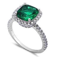 3ct Cushion Cut Simulated Green Emerald & CZ .925 Sterling Silver Ring Size 9. 12mm. 925 Solid Sterling Silver.
