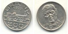"""200 Réis - Visconde de Mauá - Em 1937, a Casa da Moeda do Brasil lançou uma moeda comemorativa de 200 réis com a efígie de Mauá no reverso e da locomotiva """"Baronesa"""" no anverso."""
