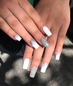 Cute Acrylic Nail Designs, Cute Acrylic Nails, Gel Nails, Manicure, White Glitter, White Nails, Square Acrylic Nails, Coffin Nails Long, Dream Nails