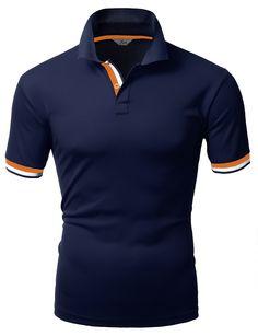 8b50939087 Amazon.com  Xpril Men s Color Effect Collar Short Sleeve Polo T Shirt   Clothing