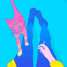 love cute smoking weed Psychedelic art psychedelia animal love cat art colorful art phazed smoking a j
