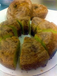 Pistachio Coffee Cake! Pistachio Cake, Coffee Cake, Muffin, Breakfast, Food, Muffins, Hoods, Meals, Cupcake
