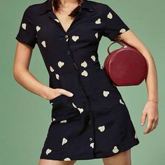 Cute hearted black dress by @information