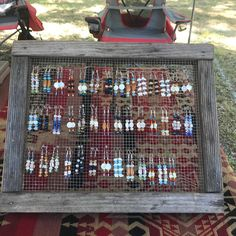 Got this dirt sifter at a yard sale for a quarter! New earring rack! 😎 just need to sand it down a bit and replace the nails and she'll be good to go! Earring Holders, Beading Projects, Yard Sale, Jewellery Display, So Little Time, Beadwork, Wine Rack, Sisters, Home And Garden