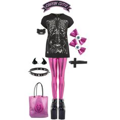"""""""PInk and Black"""" by twisted-candy on Polyvore"""