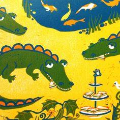Crocodile tea time - signed original hand pulled reduction linocut print