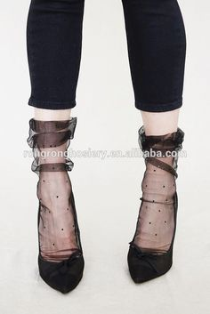 Hotsale Fashion Lady Sexy Tulle Ruffle Socks Young Girls Frilly Socks