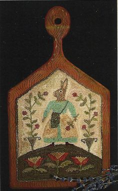 Primitive Folk Art Punchneedle Pattern:     TULIP TIME - Preprinted Weavers Cloth Included