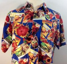 What a great shirt with its beach scenes and postcards from Hawaii. Hawaiian Camp Shirt Postcards Flowers Mens Large Riggings Cotton Blend Beaches #Riggings #Hawaiian