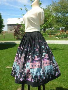 Vintage 1950s Rockabilly Lucy Scenic Mexico Novelty Print Cotton Full Skirt
