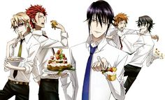 Kusanagi Izumo, Suoh Mikoto, Munakata Reisi, Fushimi Saruhiko and Yata Misaki eating cake. K Project. Hot Anime Guys, I Love Anime, Anime Boys, Kk Project, Missing Kings, Suoh Mikoto, Anime Hairstyles Male, Reverse Gravity Falls, Seven Knight