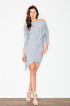 Stylish Grey Unsymmetrical Mini Dress For Women LAVELIQ