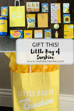 """this gift! Make your own """"Little Bag of Sunshine"""" gift to brighten someone's day using the inspiration and Cricut tutorial at Custom Gift Bags, Customized Gifts, Bag Of Sunshine, Basket Of Sunshine, Employee Appreciation Gifts, Themed Gift Baskets, Morale Boosters, Cricut Tutorials, Teacher Gifts"""