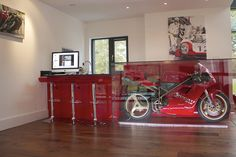 contemporary bar with ducati 916