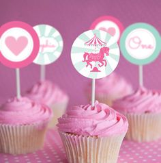 Carousel Party Cupcake Toppers - Set of 12 - Instantly Downloadable and Editable File - Personalize at home with Adobe Reader