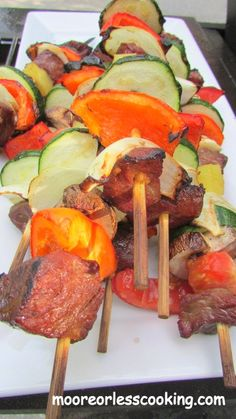 Easy Beef Kabobs and Veggies~Moore or Less Cooking Food Blog