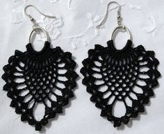 Black crochet earring  Crochet earring jewelry  by lindapaula, €11.00