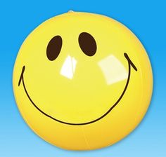 Rhode Island Novelty Inflatable Beachballs Assorted Colors 12 Smile Happy Face inflate Beach Balls Small 6 Inch Size