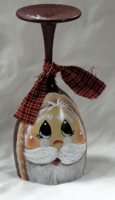 Santa tea light candle holder, glass, hand painted