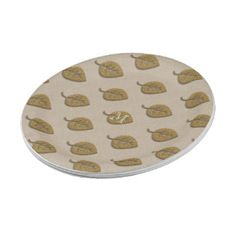Personalised Golden Leaf Linen Party Plates 7 Inch Paper Plate