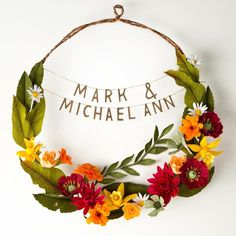 "A wreath that friends commissioned for their save the dates a while back. The dahlias symbolize ""everlasting union"" the marigolds ""passion and creativity"" and the daffodils ""new beginnings."" Even though it seems like the Victorians ascribed meanings to flowers arbitrarily (with some guides providing conflicting messages) I get a kick out of picking flowers based on the Language of Flowers. Very happy for all the friends I know who are getting ready to take this step Luv rules #paperflowers…"