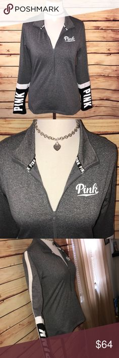 🆕 VS PINK Ultimate 1/2 Zip Pullover Super cute and stretchy! Heathered charcoal Gray shade with black and white accents. 1/2 zip styling with thumb holes on sleeves. BNWOT (ordered online. Excellent quality and condition. Check out my other listings to bundle and save! PINK Victoria's Secret Tops Tees - Long Sleeve