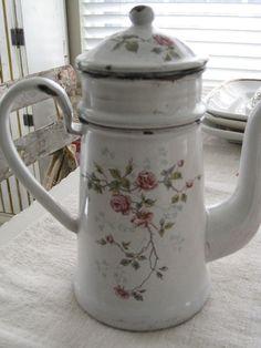 Vintage White & Pink Roses French Enamelware Biggin