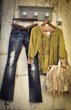 love the olive green and distressed jeans.  no on the purse.