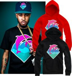 On sale Men's clothing women's pink dolphin dolphins south coast pullover with a hood sweatshirt outerwear hiphop $15.43