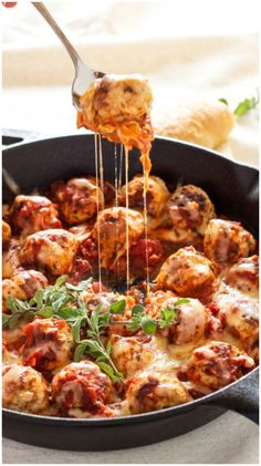 Skillet Meatballs in Marinara Sauce - Italian flavored turkey meatballs stuffed with mozzarella cheese and simmered in delicious marinara sauce.