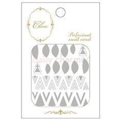 Clou Japanese Nail Art Sticker / Halfmoon & Chevron / Silver Foil