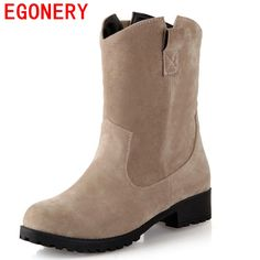 EGONERY ankle boots grind arenaceous slip-on round toe square thick low heels winter boots solid concise casual women shoes Flat Heel Ankle Boots, Shoe Boots, Women's Shoes, Shoes 2017, Calf Boots, Shoes Sneakers, Winter Fashion Boots, Winter Boots, Fall Winter