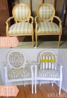 Chair Makeover with Premier Prints Sponsored by Online Fabric Store - Before and After | Hearts & Sharts| www.heartsandsharts.com