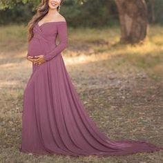 ba9f23ac0f Maternity Off Shoulder Long Sleeve Floor-Length Gorgeous Dress