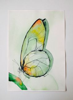 Green Butterfly watercolor painting, original artwork. Aquarelle art. Unique birthday present, water colour sketch. Watercolour picture.  This is an original expressive, colorful, abstract watercolor painting of a butterfly. A unique gift for birthday, for a friend. Drawing, watercolour wall decor for home. Contemporary art. Water colour picture. Aquarelle. Unusual gift.  It is painted by me on St Cuthbers Mill Watercolor 260 g/m2 fine art paper.  Dated and signed by me, without frame…
