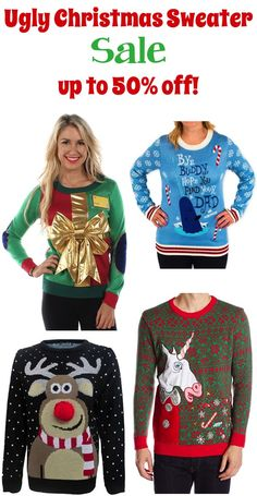 c4ad977b4ec4 Every good Christmas party includes an Ugly Christmas Sweater! Take ugly to  the next level with these fun sweaters sure to be turning heads at your  next ...