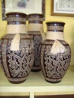 Jogo De Vasos Com Corda-cerâmica Marajoara