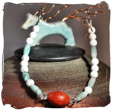Howlite Sesame Jasper & Coral Bracelet by TimelessTalismans, $25.00