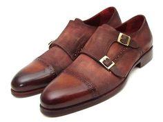 Paul Parkman Handmade Shoes, Paul Parkman Men's Captoe Double Monkstrap Antique Brown Suede (ID#045BT11)