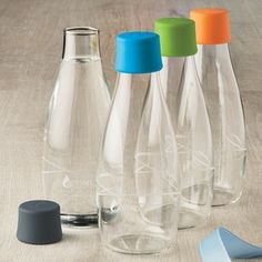 16 oz. Retap Water Bottle- this eco-friendly bottle is made from durable borosilicate glass so it resists breaking, and comes with a leak-proof silicone cap- The Container Store